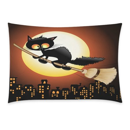 ZKGK Happy Halloween Cute Black Cat Lovely Moon Cartoon Home Decor Pillowcase 20 x 30 Inches, Night Moon Cat Flying on Witch Broom Pillow Cover Case Shams Decorative for $<!---->