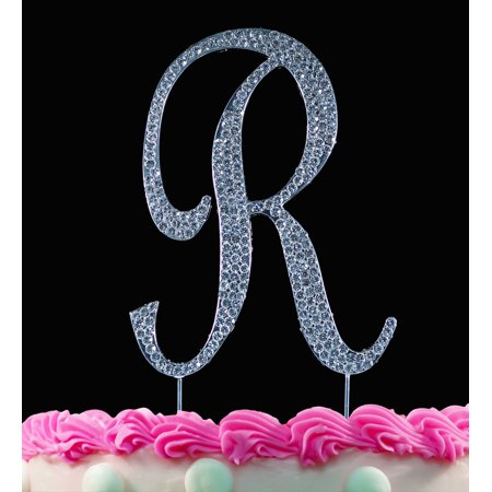 Yacanna Crystal Covered Monogram Cake Toppers Silver Cake Initial R