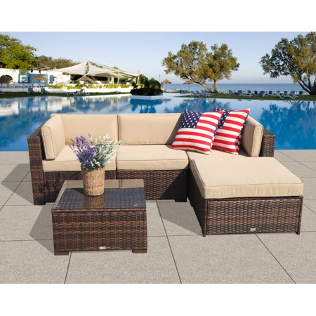 Patio Outdoor Furniture Sectional Sofa Set (5-Piece Set) All-Weather Brown Wicker with Beige  Seat Cushions &Glass Coffee Table| Patio, Backyard, Pool| Steel Frame ()