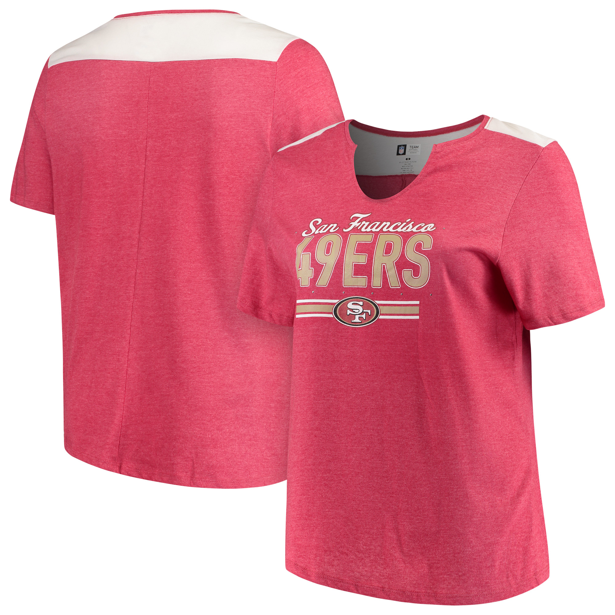 San Francisco 49ers Majestic Women's Notch Neck Plus Size T-Shirt - Heathered Scarlet