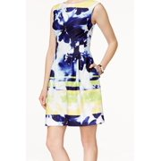 Vince Camuto NEW Blue Womens Size 16 Floral Print Boatneck Sheath Dress