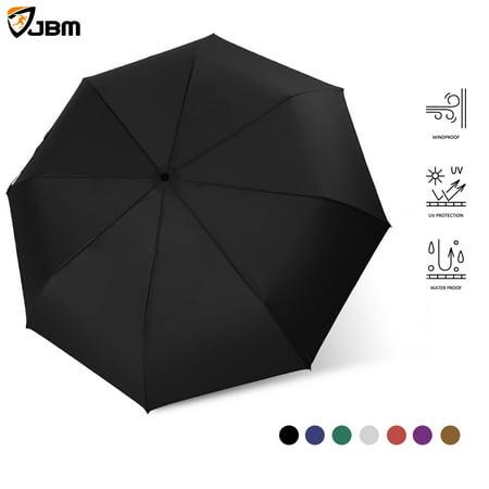 JBM Travel Umbrella Auto Open Compact Folding Sun & Rain Protection Windproof Portable Umbrella for Kids Women Men (Black) ()