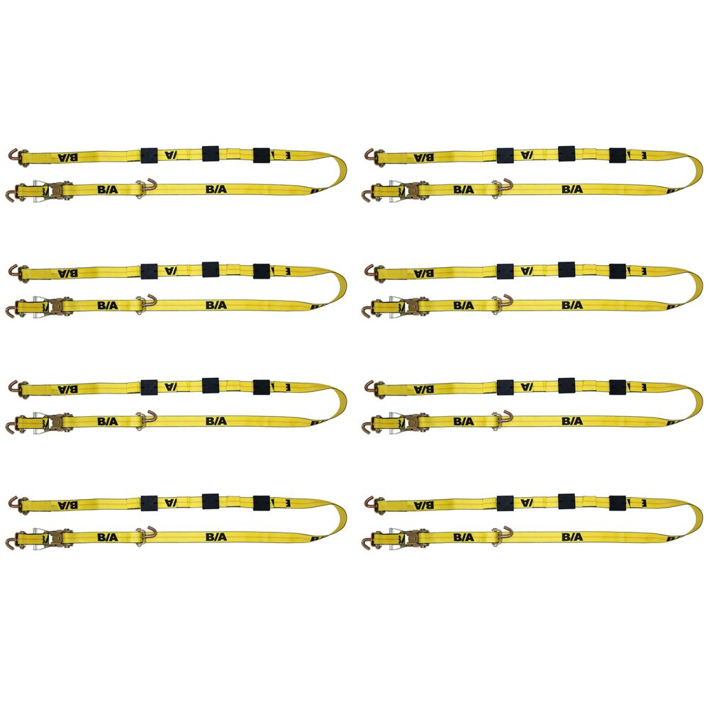 "B/A Products 8-Pack Ratchet Tie-Down Assembly with Long Swivel J Hooks 2"" x 10'"
