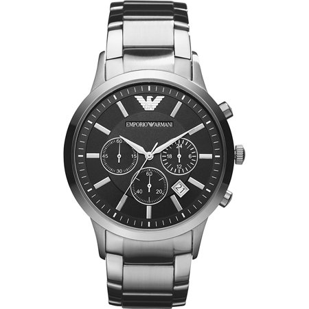 Black Dial Super Slim Watch (Emporio Armani Men's Classic Chronograph Stainless Steel Black Dial Watch)