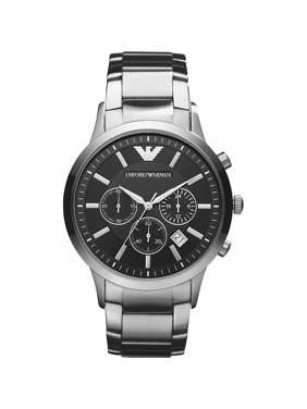 Emporio Armani Men's Classic Chronograph Stainless Steel Black Dial Watch AR2434