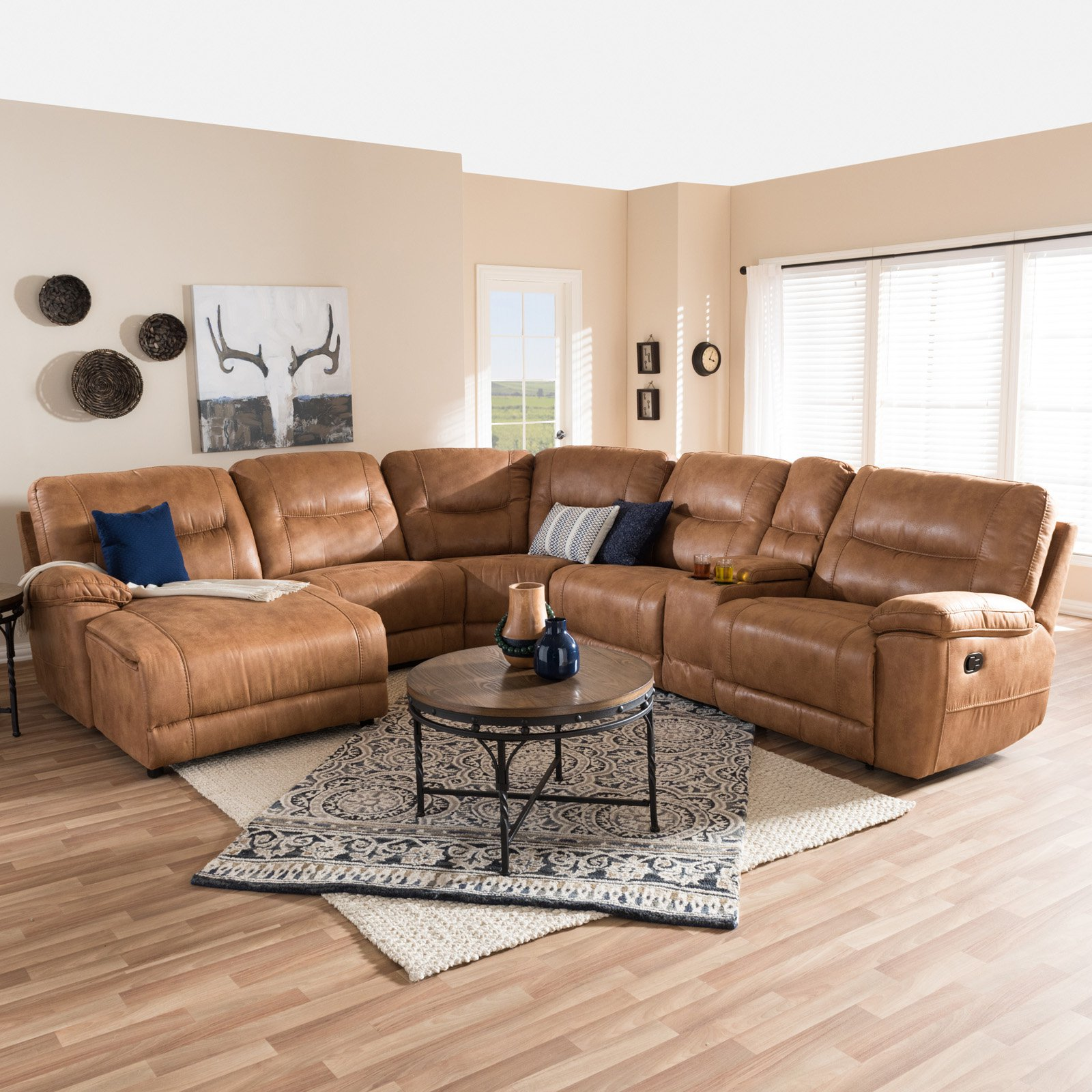 Baxton Studio Mistral Modern and Contemporary Light Brown Palomino Suede 6-Piece Sectional with Recliners Corner Lounge Suite