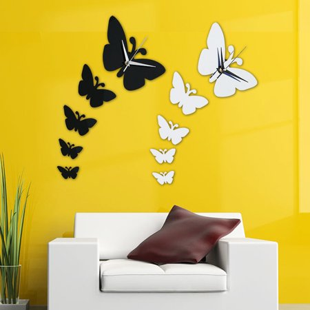DIY Butterfly Wall wallwatch Clock Stickers Watches Home Decor Dream House Designer Arts Crafts Silver/Black - Clock Craft