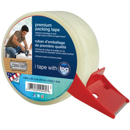 (IPG PSD50 Packaging Tape With Dispenser, 1.88 in W x 60 yd L x 3 mil T, Clear)