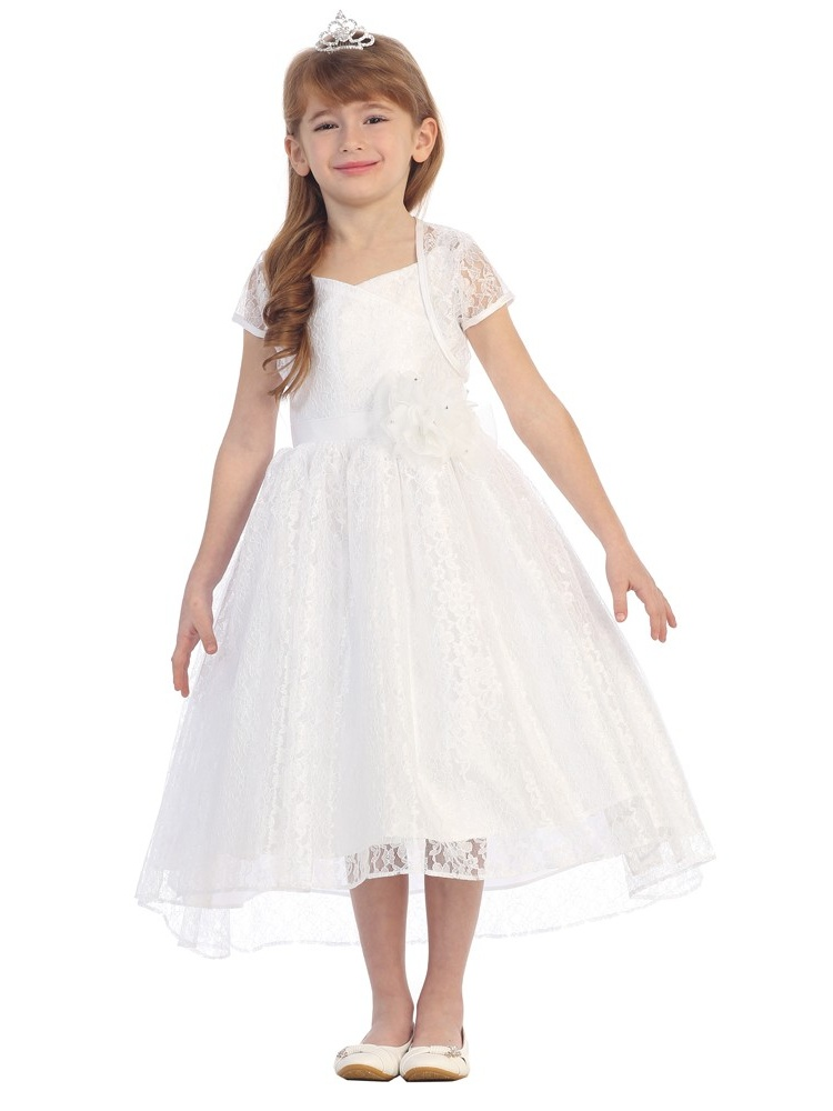 Chic Baby Little Girls White Lace Hi-Low Special Occasion Jacket Dress