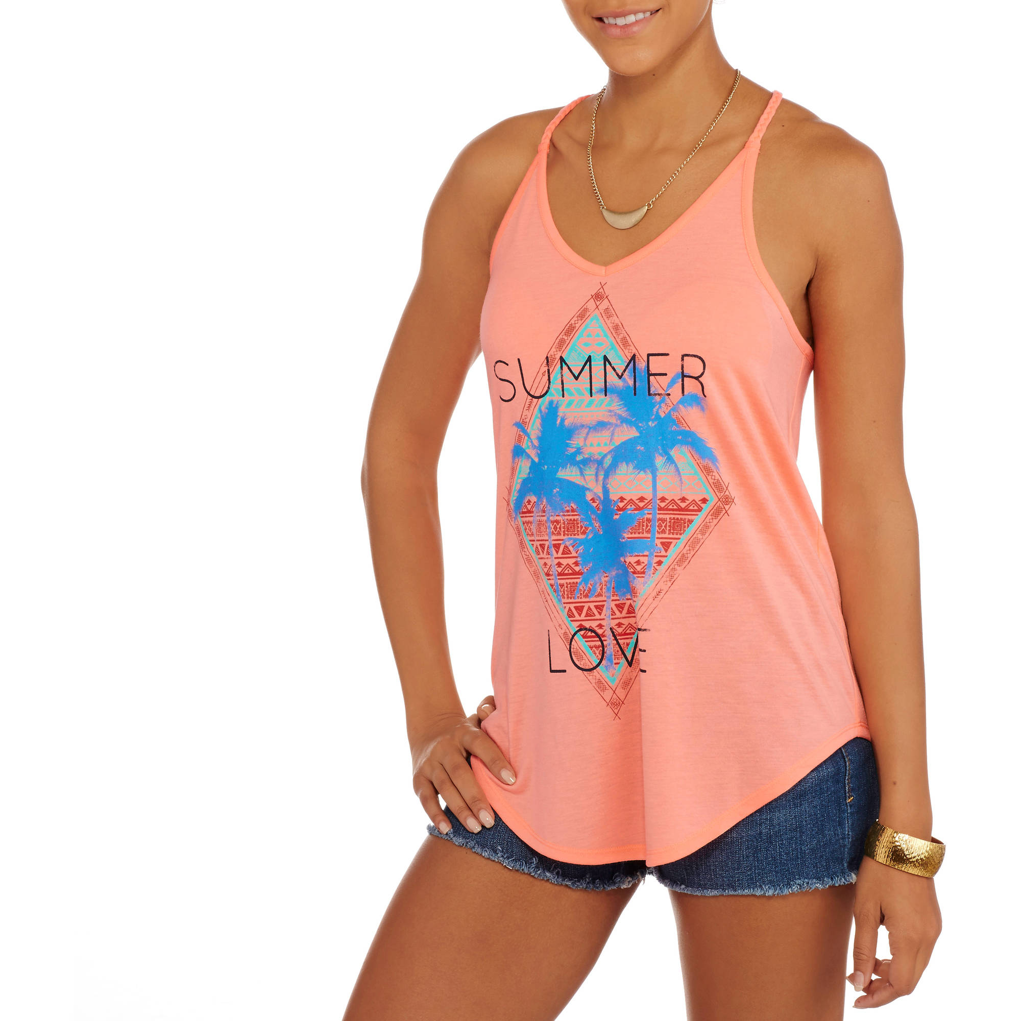 No Boundaries Juniors Graphic Braided Racerback Tank