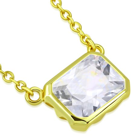 925 Sterling Silver Yellow Gold-Tone Bezel-Set CZ Cushion Solitaire Pendant (Bezel Set Solitaire Necklace)