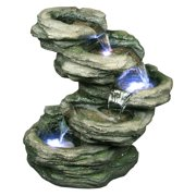 4 LEVEL ROCK FOUNTAIN WITH LED
