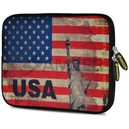Designer 10.5 Inch Soft Neoprene Sleeve Case Pouch for Apple iPad Pro 9.7, iPad 2, iPad 3, iPad 4 (Fit with Smart Case, Folio Covers) - Rustic Liberty US Flag Case Sleeve Folio Cover