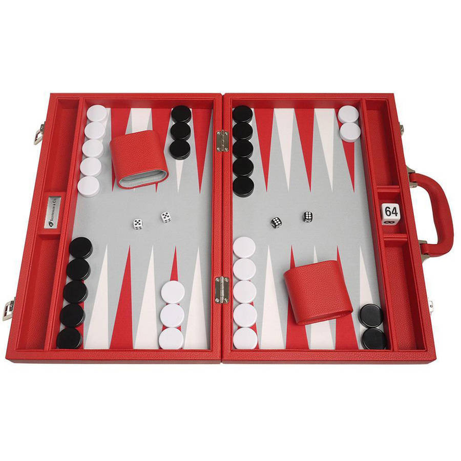 "16"" Premium Backgammon Set, Red by Silverman & Co"