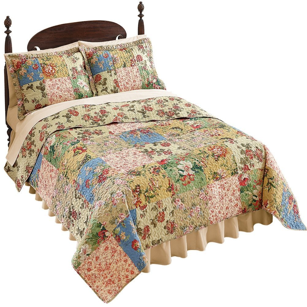 Country-style Red Roses Patchwork Quilt, Multi, King, USA...