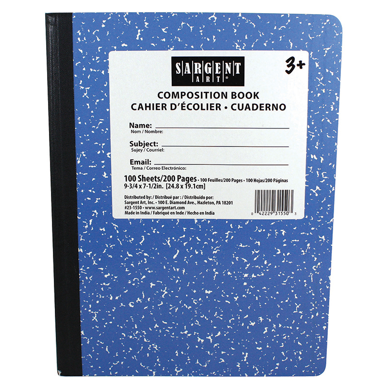 Sargent Art  Inc. SAR231550 Blue Composition Book 100 Sheets
