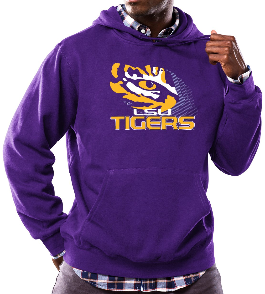 "LSU Tigers NCAA Majestic ""Focused"" Men's Hooded Sweatshirt"