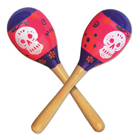 Club Pack of 24 Day of The Dead Maraca Halloween Party Favor Noise Makers 8