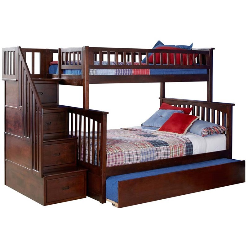 Leo Amp Lacey Twin Over Full Staircase Trundle Bunk Bed