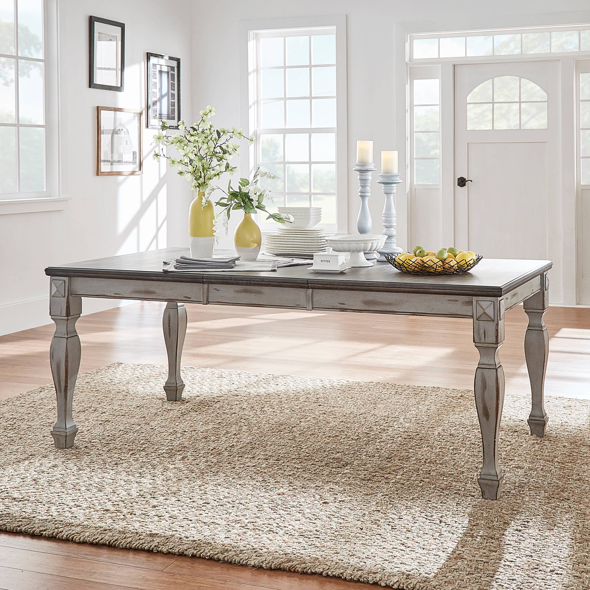 weston home two tone dining table, coffee and antique grey