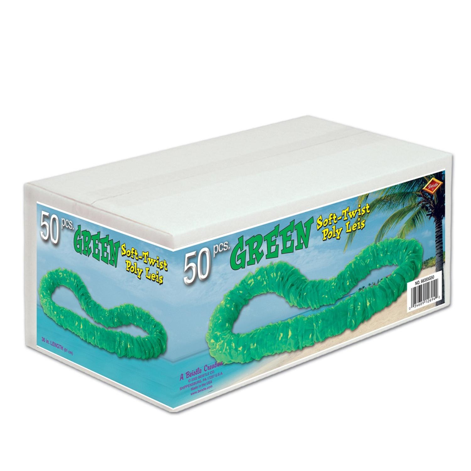 """Club Pack of 50 Jungle Green Soft-Twist Boxed Hawaiian Party Lei Necklaces 36"""""""