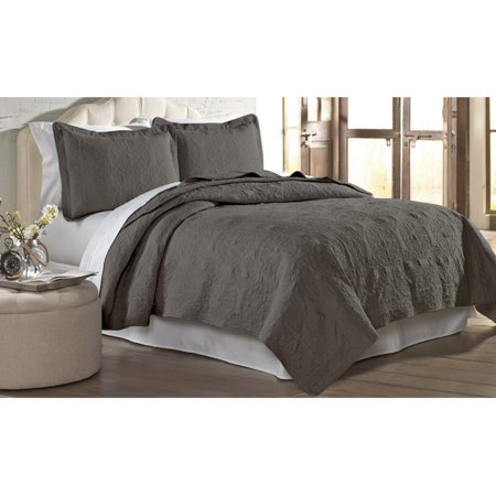 Image of 2 pc Solid Medallion Embroidered Quilt Set - Twin Charcoal