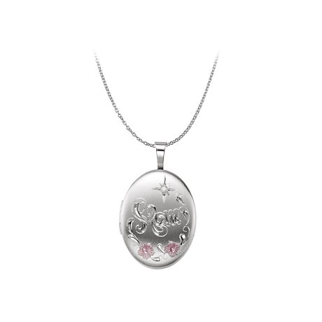 Oval mom locket pendant 925 sterling silver free chain aloadofball Image collections