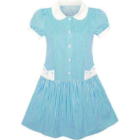 Girls Dress Blue White Stripe Collar School Uniform Short Sleeve 5 - Girls Belle Dress