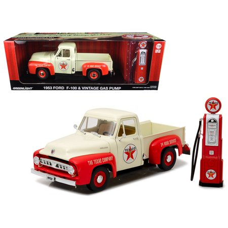 Truck Gas Mileage - 1953 Ford F-100 Pickup Truck Texaco with Vintage Texaco Gas Pump 1/18 Diecast Model Car by Greenlight