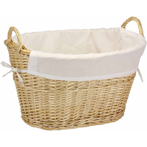 Household Essentials Natural Willow Laundry Basket with Cotton Liner