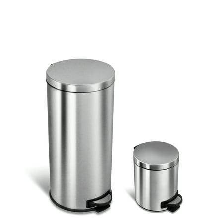 NineStars 30L + 5L Stainliness Steel Step On Trash (Steel Step Trash Can)