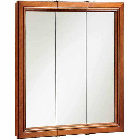 Design house 541391 montclair chestnut glaze triple door for Wood frame medicine cabinet