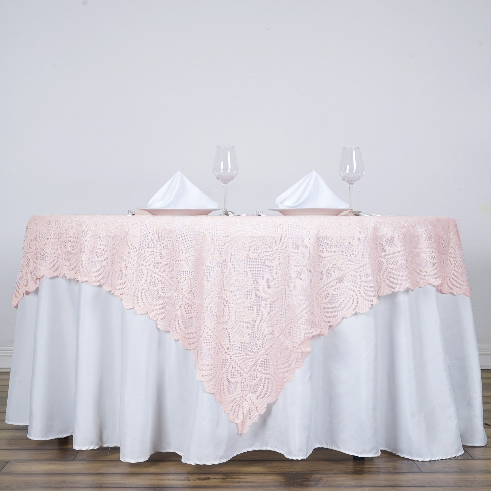 """BalsaCircle 72"""" x 72"""" Square Lace Table Overlays - Wedding Party Reception Catering Linens Dinner Banquet Event Decorations"""