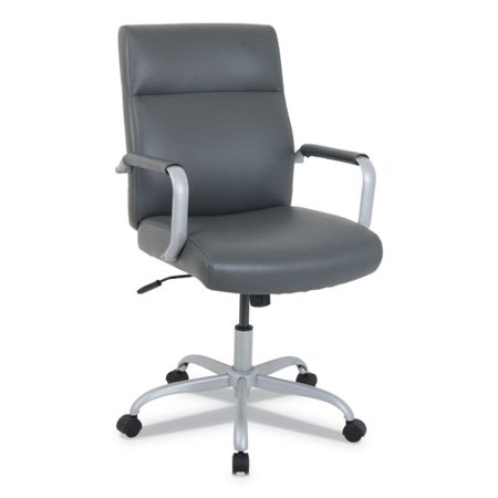 Alera® KATHY IRELAND BY ALERA MANITOU SERIES HIGH-BACK LEATHER OFFICE CHAIR, GRAY SEAT