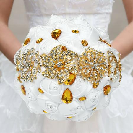 18cm Handmade Wedding Brooch Diamond Bridal Bouquet Satin Rose Flower with Rhinestone Artificial Pearls Decorated for Bride Wedding Supplies--White & Gold