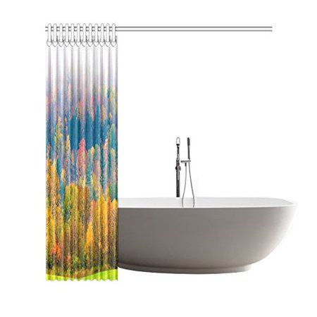 GCKG Fall Foliage Shower Curtain, Field of Trees Polyester Fabric Shower Curtain Bathroom Sets with Hooks 66x72 Inches - image 2 of 3