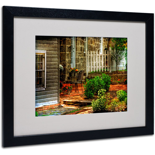 "Trademark Fine Art ""A Seat In the Shade"" by Lois Bryan, Black Frame"