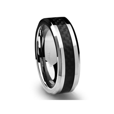 6 Mm Bevel Edge (Wedding Band in Titanium 6MM Ring Black Carbon Fiber Inlay and Beveled)