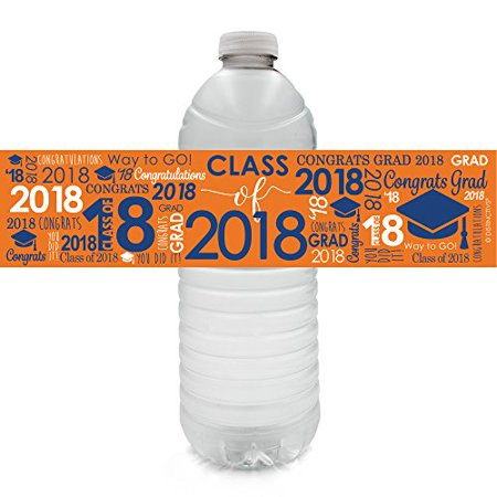 2018 Graduation Water Bottle Labels 24ct, Blue and Orange Class of 2018 Graduation Party Favor Decorations Supplies