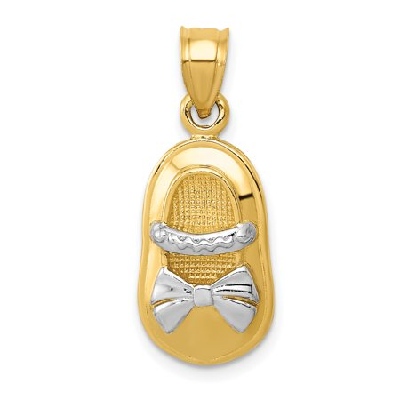 (14k Yellow Gold Girl Shoe Pendant Charm Necklace Baby For Women Gift Set)