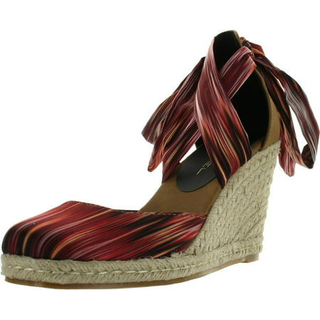 Brown Espadrille - C LABEL ROLLIN-3 Womens Lace Up Criss Cross Espadrille Wedge Sandal