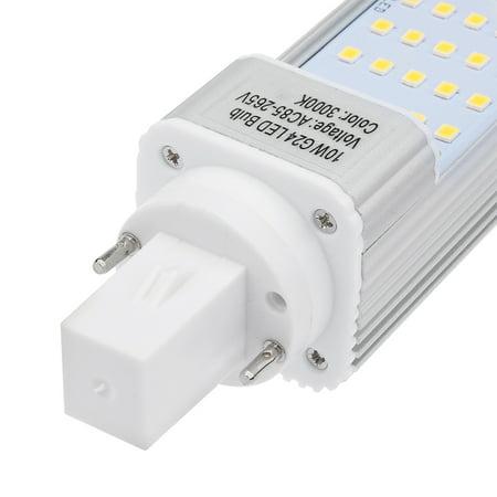 Unique Bargains AC85-265V 10W Horizontal Recessed 2835 SMD G24 3000K LED Light Tube Bulb - image 1 de 5