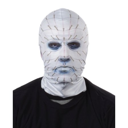Pinhead Halloween Mask (faux real unisex-adult's fr hellraiser pinhead mask, white,)