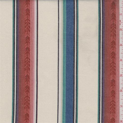 Ivory Multi Stripe Cotton Ikat, Fabric By the Yard