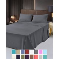 6 Piece Bamboo Sheet Set by OKAO -Silky Soft- Hypoallergenic- Wrinkle Free - Antibacterial, Moisture Wicking, Fade Resistant - Deep Pockets - 1 Fitted Sheet, 1 Flat, 4 Pillowcases Queen, Gray
