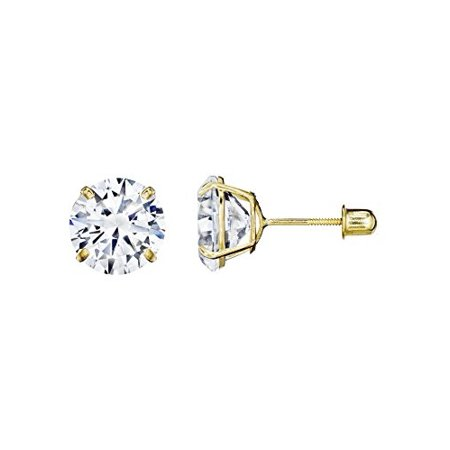 14kt Solid Yellow Gold Superbright Clear Cz Basket Setting Round Screwback St...