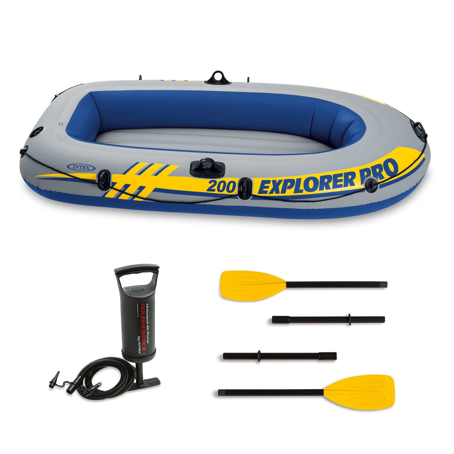 "Intex Inflatable Explorer Pro 200 Two-Person Boat with Oars and Pump, 77"" x 40"" x 13"""