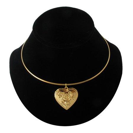 Ky & Co Gold Tone Metal Rose Heart Photo Locket Pendant Collar Bangle (Ky Photo)