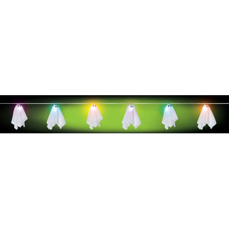Battery Operated Light String with 6 Sheet Ghosts Multi Color Lites Cute Decor ()