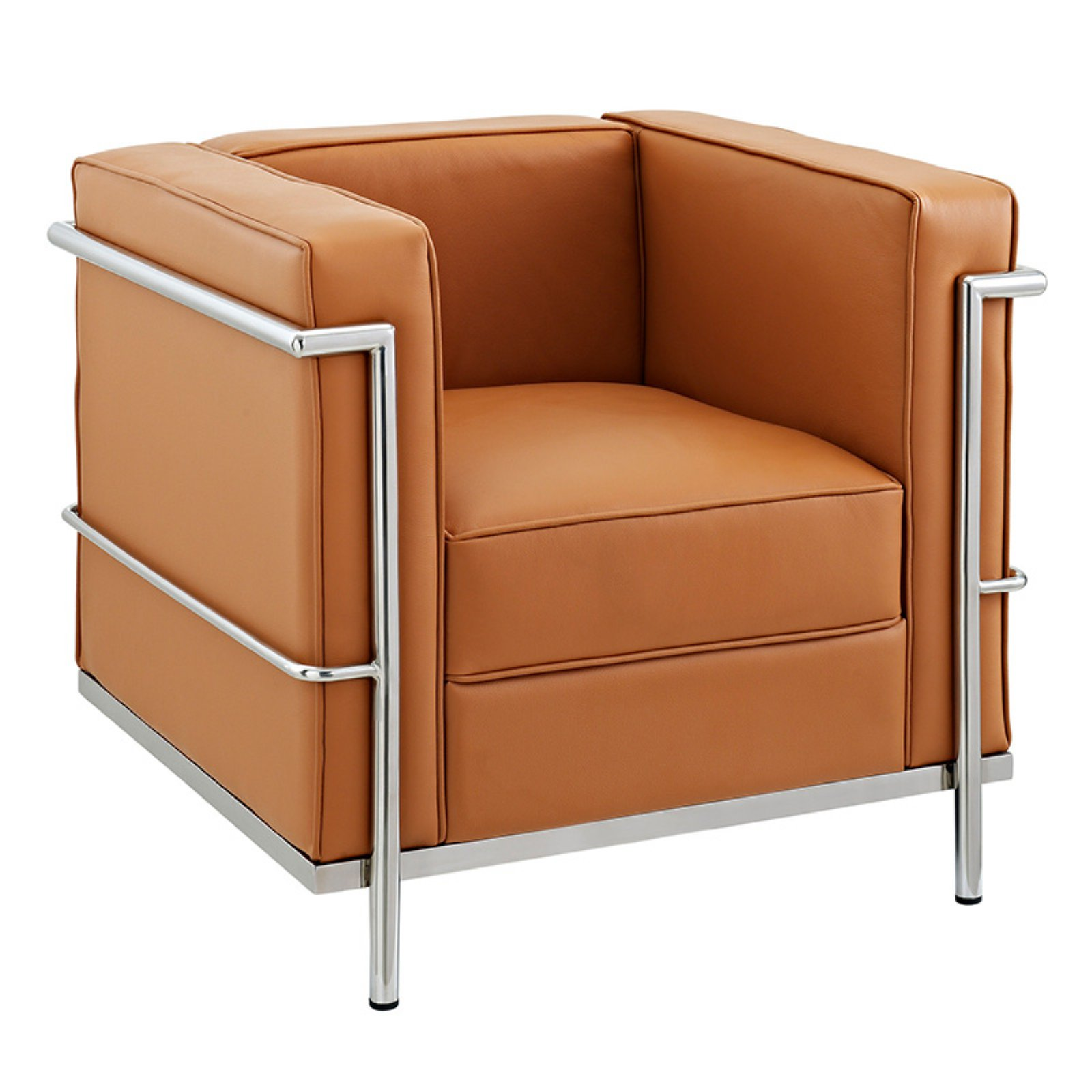 Modway LC2 Leather Armchair with Steel Frame, Multiple Colors